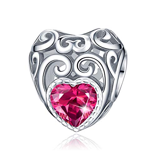 FOREVER QUEEN July Birthstone Charms- Leaves Wave Heart Bead Charms- 925 Sterling Silver Openwork Charm fit Pandora Charms Bracelet Necklace for Women, Daughter, Wife, Girlfriend, Mother BJ09014