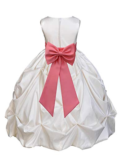 Ivory Satin Taffeta Pick-Up Bubble Junior Flower Girl Dress Christening 301T -