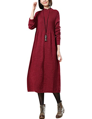 Robe Youlee Col Longues Rouge Haut Femmes Automne Manches À pIn7Ir