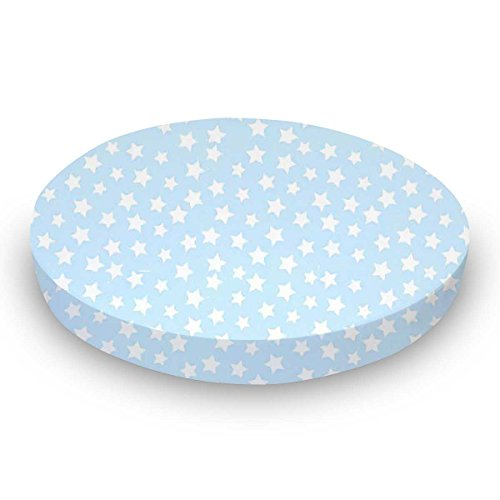 SheetWorld Round Crib Sheets - Stars Pastel Blue Woven - Made In USA