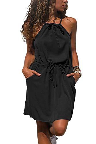 Halter Pocket Dress - Wxnow Women's Sleeveless Casual Dress High Waist Solid Dress Halter Mini Dresses with Pockets Black S