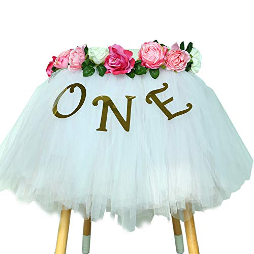 Baby Pink Tutu For 1st Birthday - Party Supplies For Highchair Tutu Skirt, First Birthday With One Pennant,8 Rose Flowers For Birthday Party Supplies Baby Shower, Happy Birthday For Baby