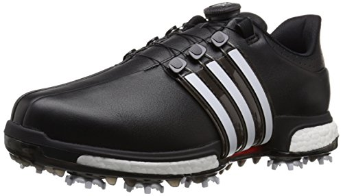 adidas Golf Men's Tour360 Boa Boost Spiked Shoe, Core Black/FTWR White/Power Red,12.5 M US F3341037