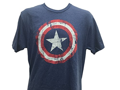 Marvel+Comics+Retro+Shirt Products : Marvel Men's Captain America Tattered Distressed Shield T Shirt