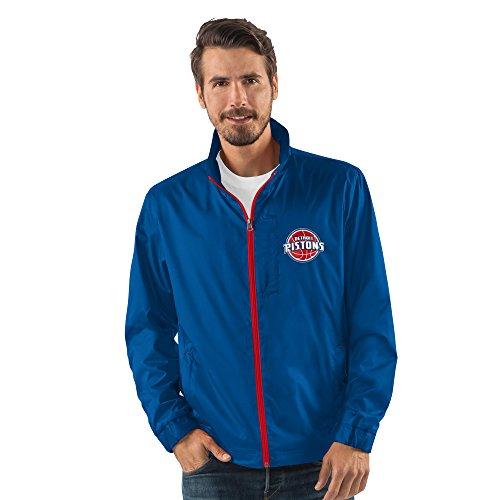 NBA Detroit Pistons Men's Breaker Full Zip Jacket, Medium, Royal Detroit Pistons Applique