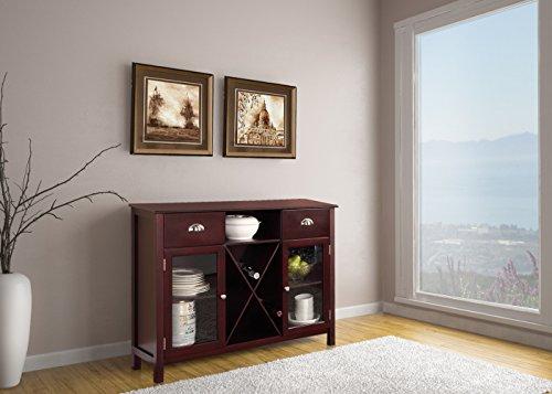 Kings Brand Furniture Cherry Wood Wine Rack Breakfront Buffet Storage Server Console ()