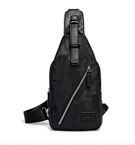 With Backpack Black Rucksack Bag Crossbody Chest Travel Hiking Shoulder Ultralight Waterproof Boys Men Versatile Sling over School Daypack Headphone Hole For Pack Women And qEp6F