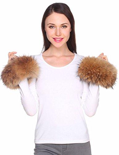 Ferand Women's Flurry Real Raccoon Fur Bracelet Cuffs for Winter Coat Jacket,Dark ()