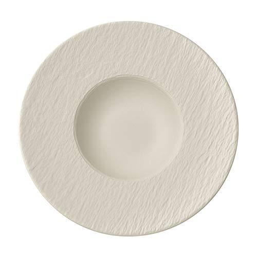 (Villeroy & Boch Manufacture Rock Blanc Pasta Plate, Structured Crockery Porcelain, White, 29 cm)