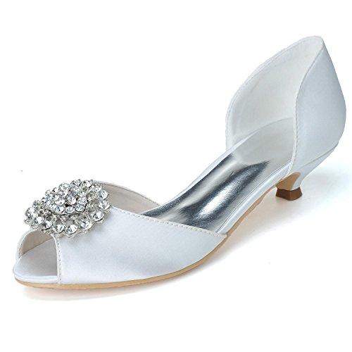Sur Commande De De Chaussures Fait avec 0700 YC Femmes De Luxe Mariage Soie 03 Des L Mousseux white Mariage Chaton En D'appartements qEO676