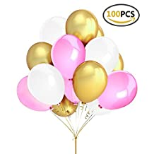 "Fecedy 12"" 100pcs Gold Pink White Round Balloons for Party"