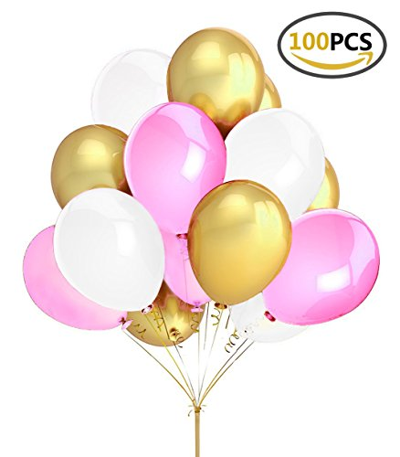 Fecedy 100pcs Gold Pink White Round Balloons for Party (Pink White Gold)