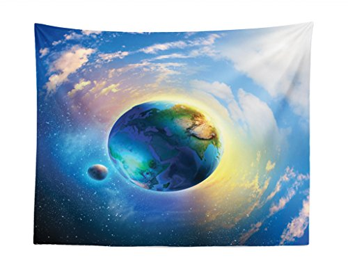 Lunarable Space Tapestry, Air View of Earth Atmospheric Circle with Orbit Spherical Solar System Artwork Print, Fabric Wall Hanging Decor for Bedroom Living Room Dorm, 28 W X 23 L inches, Blue White by Lunarable