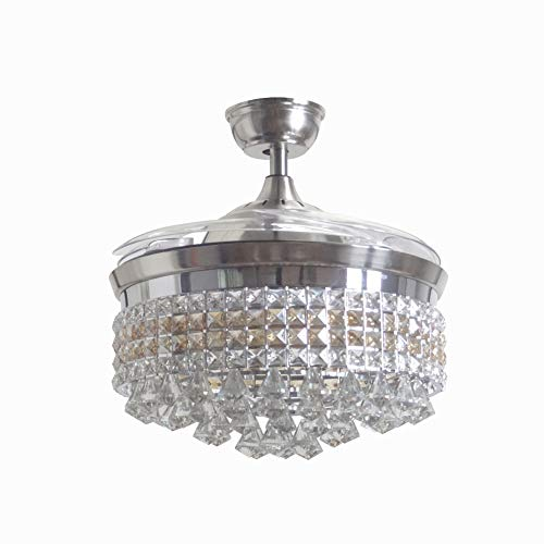 Modern Reverse Crystal Ceiling Fan Light 3 Color Changing Luxury Chandelier LED 6 Gear Speed Bedroom Restaurant Living Room Remote Retractable Fan Light-42 Inches Polished Silver