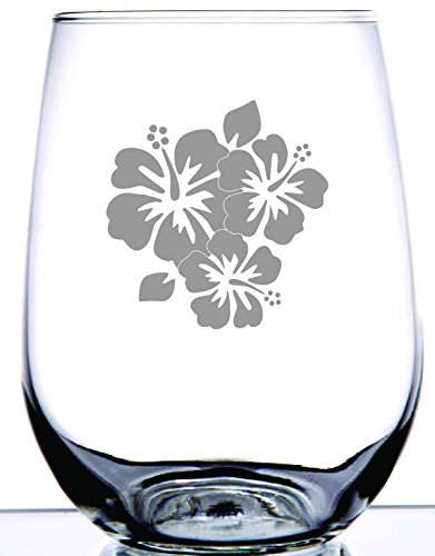 IE Laserware Beautiful Maui flowers etched on 17 oz stemless wine glass