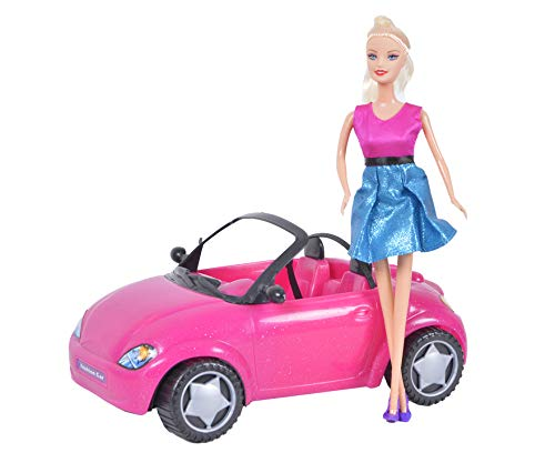 Doll Car with Fashion Doll in Vogue Dress, Glam Convertible Girls Play Set, Beach Cruiser and Doll Included, Pink