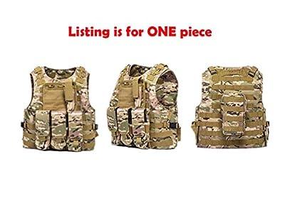 FixtureDisplays Tactical Molle Airsoft Vest Paintball Combat Soft Vest Tan Tactical Vest 16939-NPF