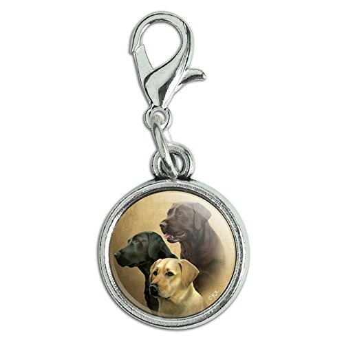 (GRAPHICS & MORE Labrador Retriever Trio Dogs Portrait Antiqued Bracelet Pendant Zipper Pull Charm with Lobster Clasp)