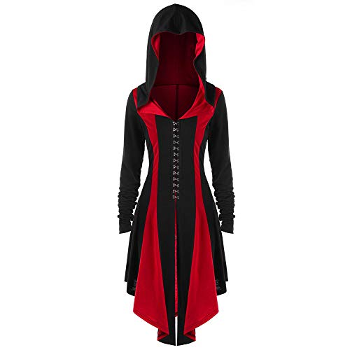 Women's Gothic Steampunk Lace Up Hooded Trench Coat