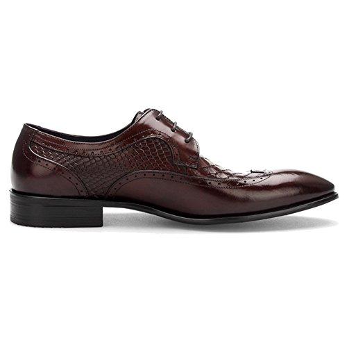 MERRYHE Hommes En Cuir Véritable Brogues Affaires Robe Chaussures Crocodile Motif Bout Pointu Lacets Derby Pour Les Cadeaux Du Père Brown