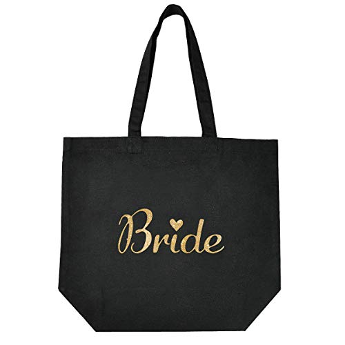 (ElegantPark Bride Tote Bag for Wedding Bridal Shower Gifts 100% Cotton Black with Gold Glitter)