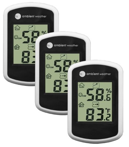 Ambient Weather WS-03-3 Compact Indoor Temperature and Humidity Monitor, 3 Pack