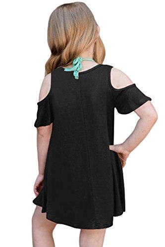 Casual Shoulder Loose irene Tunic Short Dress Ruffled inevent Summer Sleeve Girls Black Cold TqzqOS8w