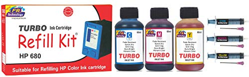 Turbo Ink Cartridge Refill Kit for HP 680 multi coIour