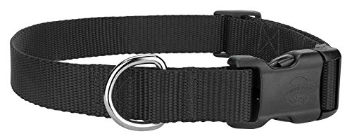 Scott - Adjustable Black Rib Nylon Dog Collar - Size: X-Large 18