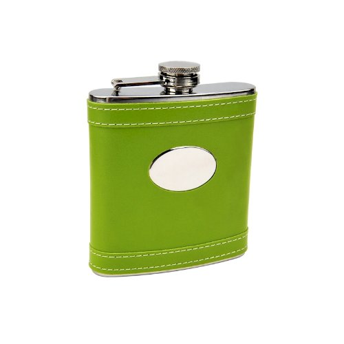 6oz Lime Green Customized Flask, Free Personalization!