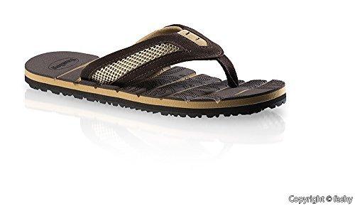 Fashy 7524- Hombre Zapatillas de dedo del pie Zapatos de dedo del pie Zapatillas baño Talla 41-46 / 2 varios colores Marrón