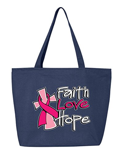 Shop4Ever Faith Love Hope Heavy Canvas Tote with Zipper Breast Cancer Awareness Reusable Shopping Bag 12 oz Navy -Pack of 1- Zip by Shop4Ever