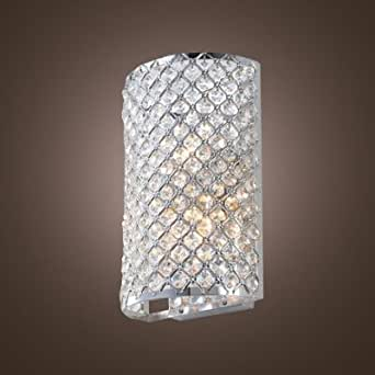 wld Contemporary Three-light Wall Light Fixture Adorned with Crystal Bead Mounted Polished Chrome Finish Frame Perfect for Living Room