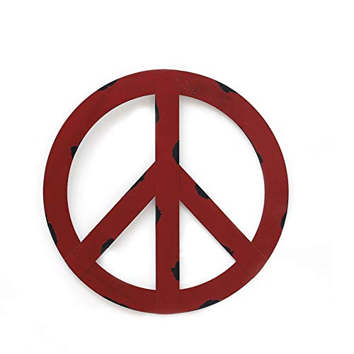 YK Decor Metal Treasured Red Peace Sign Wall Hanging Ornament Home Door Decor Decorative Signs (8