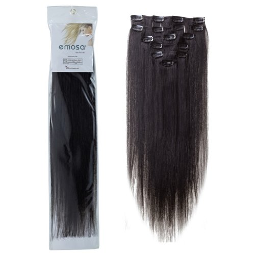 Emosa 100% Real Human Hair Clips in Hair Extensions Full Head #1 Jet Black #1B Natural Black (20inch, Natural Black)
