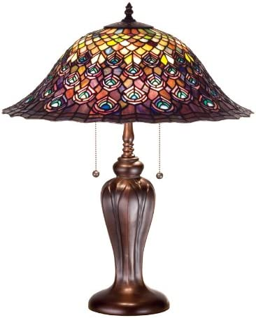 Meyda Home Indoor Bedroom Decorative 25″H Tiffany Peacock Feather Table Lamp