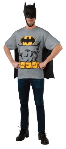 DC Comics Batman T-Shirt With Cape And Mask, Black, X-Large