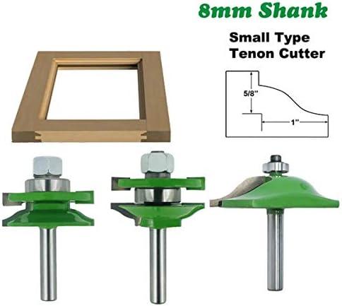 Router Bit Cabinet Door Panel Milling Woodworking Cutter 3pcs 8mm Shank Tenon Router Bit