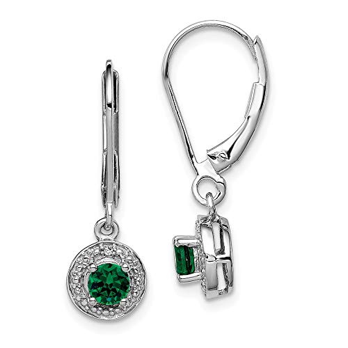 925 Sterling Silver Diamond Created Green Emerald Leverback Earrings Lever Back Set Drop Dangle Birthstone May Fine Jewelry Gifts For Women For Her