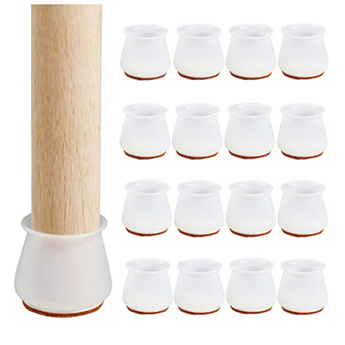 Silicone Chair Leg Caps with Felt Pads - Free Moving Table Leg Covers, 16Pcs & 24Pcs Stool Leg Protectors - Caps to Prevent Floor Scratches and Reduce Noise