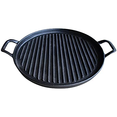 Cast Iron Griddle Pizza Pan - Pre Seasoned Grill (New Design), Black by Utopia Kitchen