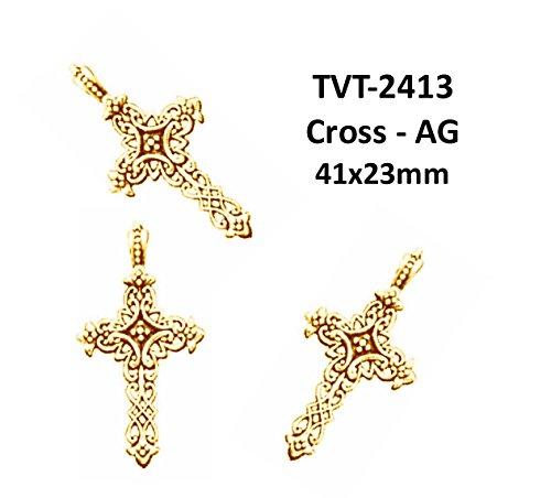 Charms Cross Pewter (PlanetZia 3 pcs 41x23mm Cross Pewter Charm for Jewelry Making TVT-2413 (Antique Gold))