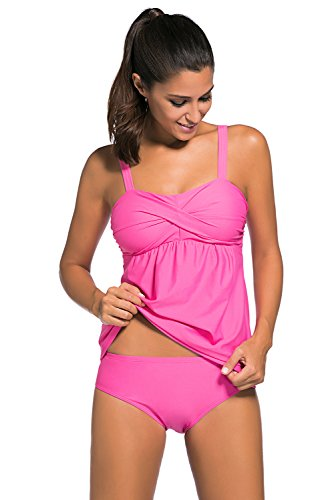 Aleumdr Women's 2pcs Swing Tankini Triangle Briefs Swimsuit Rosy Medium