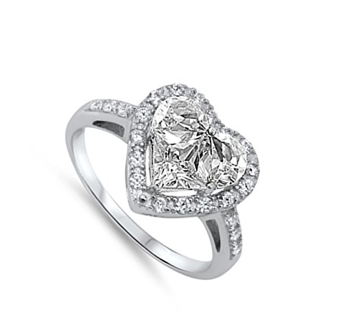 Clear CZ Heart Shine Promise Cute Ring New .925 Sterling Silver Band Size 11 by Sac Silver (Image #1)