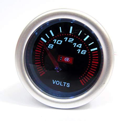 52mm Smoked Face Volt Meter/Voltage gauge Silver Rim: