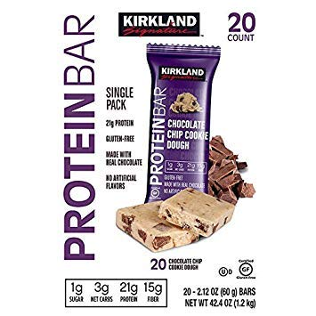 Kirkland Signature Protein Bars Chocolate Chip Cookie Dough, 20-count 2.12OZ by Kirkland Signature