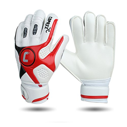 Goalie Glove, COPOZZ Adult Thick Senior Latex Soccer Goalkeeper Gloves with Finger Dual Protection Size 9 White