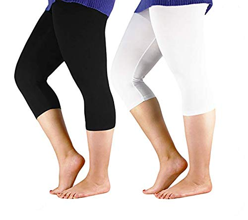 (Century Star Women's Modal Plus Size Basic Solid Capri Leggings 2 Pairs Black US 1X Plus-US 2X Plus(Tag 5XL))