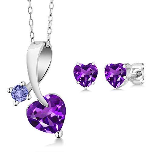 Set Shape Tanzanite Earrings - 1.82 Ct Heart Shape Purple Amethyst 925 Sterling Silver Pendant Earrings Set