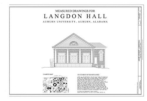 Historic Pictoric Blueprint Diagram HABS AL-993-A (Sheet 1 of 13) - Auburn University, Langdon Hall, College Street, Auburn, Lee County, AL 12in x 08in